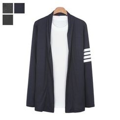 DANGOON - Shawl-Collar Contrast-Trim Open-Front Cardigan