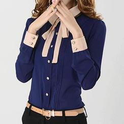 Caroe - Two-Tone Tie-Neck Chiffon Shirt