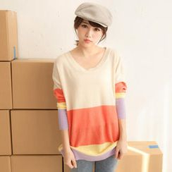 Tokyo Fashion - Color-Block Knit Top
