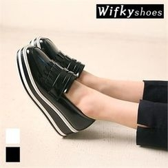 Wifky - Contrast-Trim Fringed Platform Loafers