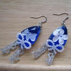 Fit-to-Kill - Blue  Ribbons and Dog Earrings