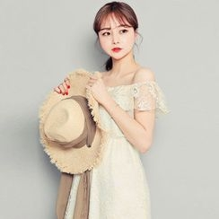HOTPING - Off-Shoulder Laced Long Dress