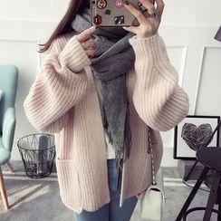 Qimi - Plain Chunky Knit Cardigan