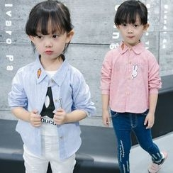 Merry Go Round - Kids Rabbit Embroidered Striped Shirt