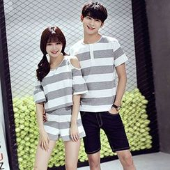 Azure - Couple Matching Striped Short Sleeve T-Shirt / Set: Cut Out Shoulder Top + Shorts