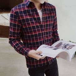 Danjieshi - Fleece Lined Check Long-Sleeve Shirt