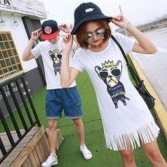 Azure - Couple Matching Cartoon Print Short Sleeve T-Shirt / Fringe Hem Dress