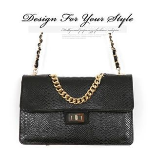 REDOPIN - Croc-Grain Metal-Chain Shoulder Bag
