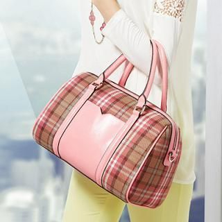 O.SA - Faux-Leather Plaid Boston Bag