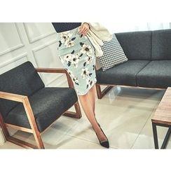UUZONE - Flower-Patterned Skirt