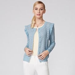 O.SA - Embroidered Panel Frilled Cardigan
