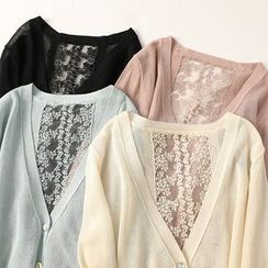 Ranche - Embroidered Mesh Panel 3/4-Sleeve Cardigan