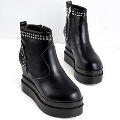 Mancienne - Studded Wedge Ankle Boots