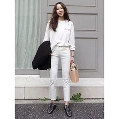 maybe-baby - Straight-Cut Cropped Pants