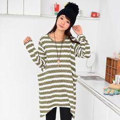 59 Seconds - Striped Long Knit Top