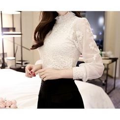 Marlangrouge - Sheer-Sleeve Lace Blouse