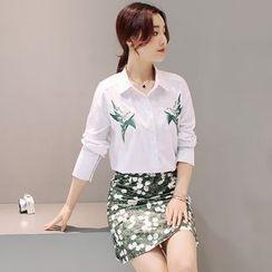 Mandalle - Set: Flower Embroidered Shirt + Floral Print Skirt