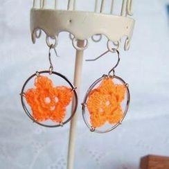 MyLittleThing - Lace Flower Ring Earrings(Orange)