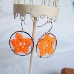 MyLittleThing - Lace Flower Ring Earrings(Orange)