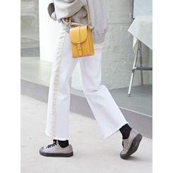 FROMBEGINNING - Contrast-Trim Wide-Leg Jeans