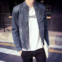 Bay Go Mall - Stand-collar Denim Jacket