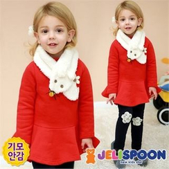 JELISPOON - Girls Set of 3: Ruffle-Hem Top + Leggings + Scarf