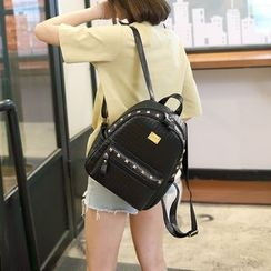 BOLIYASHI - Faux-Leather Studded Woven Backpack