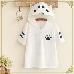 Fairyland - Hooded Cat Short-Sleeved T-Shirt