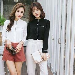 Tokyo Fashion - Contrast Trim Stand Collar Long-Sleeve Shirt