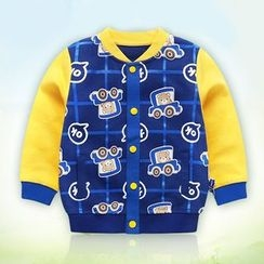 Ansel's - Kids Bear Print Color Block Baseball Jacket