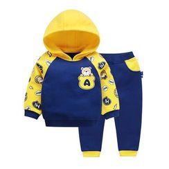 Ansel's - 童装套装: 卡通印花连帽衫 + 运动裤