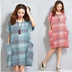 Epoch - Maternity Gingham Short-Sleeve Dress