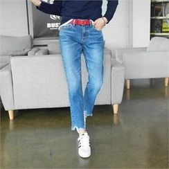 PEPER - Washed Frayed-Hem Jeans