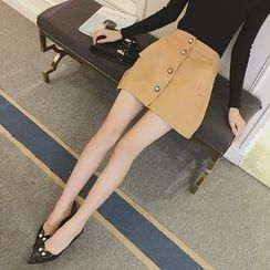 ever after - Buttoned A-Line Mini Skirt