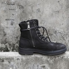 Chuoku - Lace-Up Short Boots