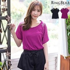 RingBear - 优雅干练华丽风格圆领蝴蝶袖烫钻长版上衣