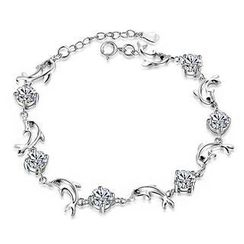 BELEC - White Gold Plated 925 Sterling Silver with White Cubic Zirconia Dolphin Bracelet