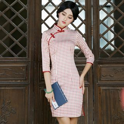 Miss Four Qipao - 3/4-Sleeve Plaid Cheongsam