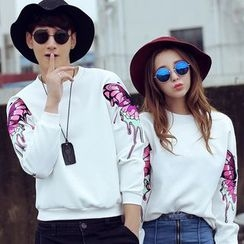 Azure - Couple Matching Embroidered Pullover