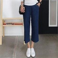 CHICFOX - Band-Waist Wide-Leg Jeans