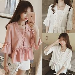 Be Bonita - Ruffled Lace-Up Chiffon Blouse