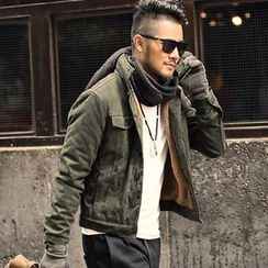 Mannmix - Faux Suede Fleece-Lined Button Jacket