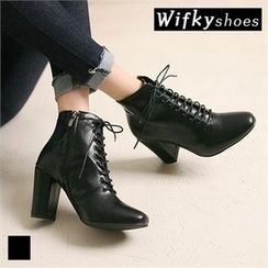 Wifky - Chunky-Heel Lace-Up Ankle Boots