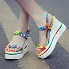 Gillaro - Platform Wedge Studded Sandals