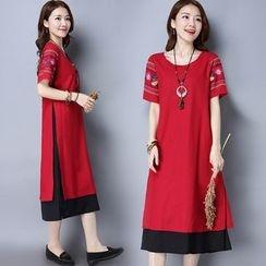 Diosa - 刺繡假兩件短袖連衣裙