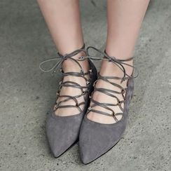JY Shoes - Pointy Lace Up Flats
