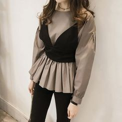 Little V - Set: Cropped Camisole Top + Long Sleeve Peplum Top