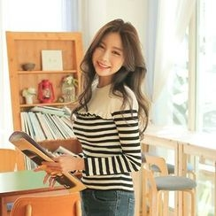 Cherryville - Striped Frilled Knit Top