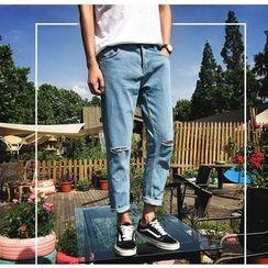 Zeesebon - Drop-Crotch Cropped Jeans