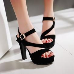 YOUIN - 粗跟厚底露趾凉鞋